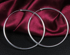 925 Sterling Silver Plated fashion jewelry women beautiful Hoop 50MM earrings