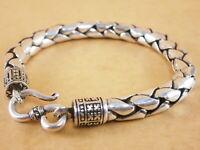 "New 925 Sterling Silver Braid Foxtail Wheat Bracelet Bali Style 7.5"" 7mm 49g"