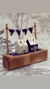 Handmade Cottage Wooden Ornament Navy And White Spot Bunting