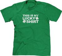 This Is My Lucky Shirt Clovers St Patricks Day Proud Irish Pride Mens Tee