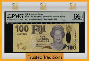 TT PK 114a ND (2007) FIJI 100 DOLLARS QUEEN ELIZABETH II PMG 66 EPQ GEM UNC!