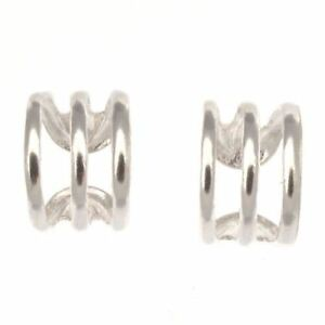 Sterling Silver Ear Cuff Triple Band Design - Pair - Helix Clip On Earring Style