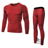 Men's Base Layer Top Under Tight T-Shirt Pants Suit Quick Drying Sport Clothes