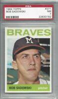 1964 Topps baseball card #271 Bob Sadowski, Milwaukee Braves graded PSA 7