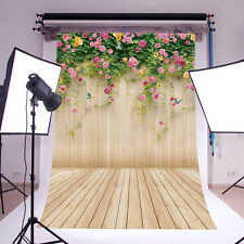 3X5FT Flower Wood Wall Vinyl Studio Backdrop Photography Prop Background 14-656