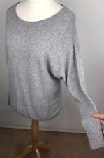 Monsoon Grey angora mix jumper sz Small Uk 10 Drop sleeves Bat wings scoop neck