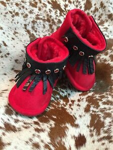 Red Infant Western Baby Boots Booties Black Leather Fringe NEW Various Sizes