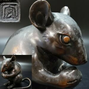 Mouse Antique Japanese copper Statue Okimono From Japan