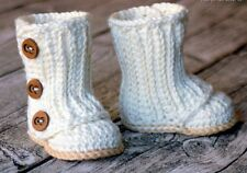Crochet baby booties with bow, winter, newborn infant, baby girl