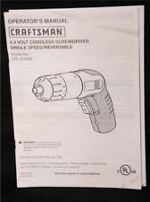 Craftsman 4.8 V Cordless Screwdriver Operators Manual Instruction Booklet Model