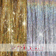 "200 Strands Sparkling GOLD and SILVER 40"" Hair Tinsel TWO HOT Colors -US Seller"