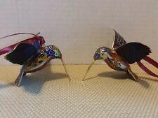 2 Chinese Vintage Cloisonne Hand Painted Hummingbird Statue (Netsuke Ornament)