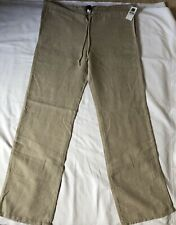 Ladies GAP beige 100% Linen Trousers Size M Drawstring Waist BNWT