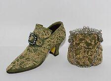 Jc Penney Vintage Moss Buckled Victorian High Heel Shoe Handbag Purse Ornament