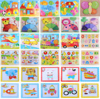 1 Set Wooden Puzzle Jigsaw Animals Toddler Kids Early Learning Educational Toys