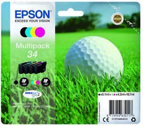 Epson 34 ,34 CMY Golf Ball Ink Cartridge Multipack-3725DWF WF-3720DWF 3725 3720