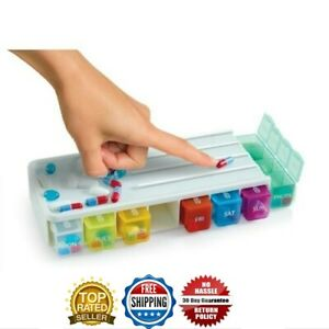 Weekly Pill box Organiser With pill cutter 4 compartments 7 Days Colour Code