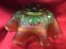 VINTAGE NORTHWOOD MARIGOLD & GREEN BULLSEYE & LEAVES CARNIVAL GLASS FLUTED BOWL
