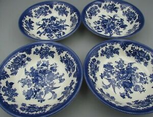 "4 ROYAL STAFFORD ""ASIATIC PHEASANT"" Blue 9"" Pasta Cereal Salad bowls  4 NWT"