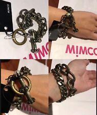 Mimco ❤️❤️❤️ Sands Of Time Chain Antique Brass Wrist Bracelet Cuff   + Dust Bag