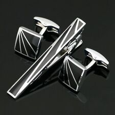 TZ-012 Stainless Steel Cufflinks + Tie Clasp Clip Bar Pins set Gift Box FREE P&P