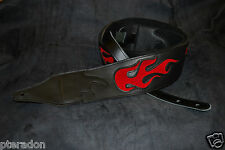 Carlino Custom Red Suede Flame Black Leather Guitar Strap