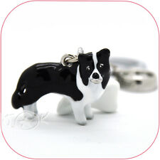 Border Collie Pet Hand-Painted Enamelled Keychain Keyring Charm DKC0213