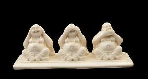 Statuetta Figurina 3 Budda Stile Scimmie Da La Saggezza di Resina H6cm Bianco Z7