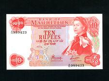 Mauritius:P-31c,10 Rupees,1967 * Queen Elizabeth II * Sign 4 * UNC *
