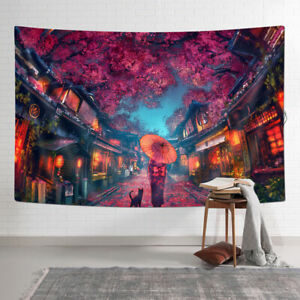 Japanese Geisha and Sakura Tapestry Wall Hanging for Room 90x60cm