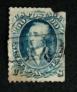 Scott US 72 1861 90¢ Washington, Used / Encircled PAID Cancel