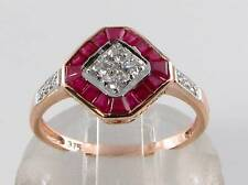 Diamond Art Deco Ins Ring Free Resize Class 9Ct 9K Rose Gold Indian Ruby &