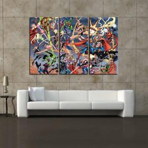Marvel Comics Vs DC Comics 3PCS HD Canvas printed Home decor painting art poster
