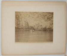 MOUNTED ALBUMEN PRINT OF TWO BOATS ON A RIVER IN NAPOLI.