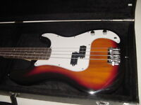 New Full Size 4 String Sunburst Electric Bass Guitar with Hard Shell Case