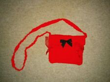 Handmade Crochet Bag - Red With Black Bow At the Front (has small pocket inside)