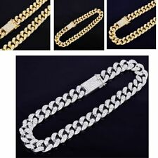 Mens Iced Out Hip Hop Gold Silver Color CZ Miami Chain Choker Necklace Zinc NEW