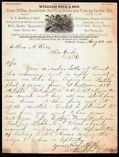 1889 Portland Or - Guns Rifles Sporting Goods - William Beck & Son - Letter Head