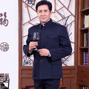 Men Single Breasted Jacket Chinese Tunic Blazer Zhongshan Black Navy Retro Good