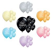 "10 x HAPPY ENGAGEMENT 12"" HELIUM QUALITY PEARLISED BALLOONS IN 7 COLOURS (PA)"
