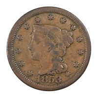 1853 Braided Hair Large Cent Fine Condition
