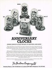 1970s Vintage 1976 Bentima Anniversary Clock Paper Photo Print Ad