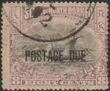 NORTH BORNEO 1901 POSTAGE DUE 8c MALAY DHOW USED. CAT RM 88