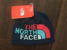 The North Face Girls Youth Medium Anders Beanie Hat Blue Pink Reversible New