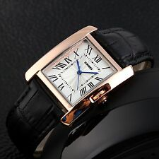Fashion Womens Golden Crystal Square Dial Leather Strap Band Quartz Wrist Watch