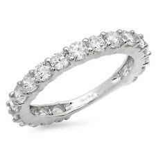 1.8ct Round Cut Eternity Designer Bridal Wedding Anniversary Band 14k White Gold