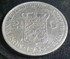 1932 NETHERLANDS  SILVER 2 1/2 GULDEN BETTER GRADE CROWN COIN
