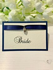 Wedding Place Cards Personalised with your Guests Names - Heart Charm on Navy