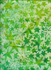 BATIK LEAVES ON PALE SKY FABRIC, UNBRANDED.THREE YARDS,22 INCHES.