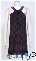 ECI Black Purple Sz 4 Women's Cocktail Silk Shift Dress $148 New